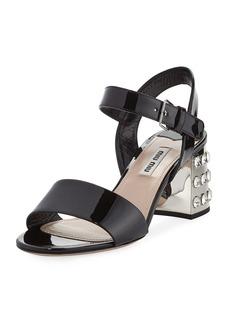Miu Miu Jeweled-Heel Patent 65mm Sandal