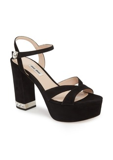Miu Miu Jeweled Heel Platform Sandal (Women)
