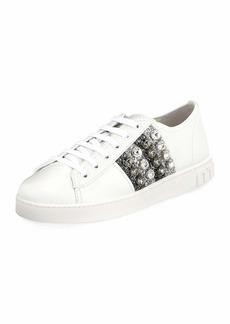 Miu Miu Jeweled Leather Platform Low-Top Sneakers