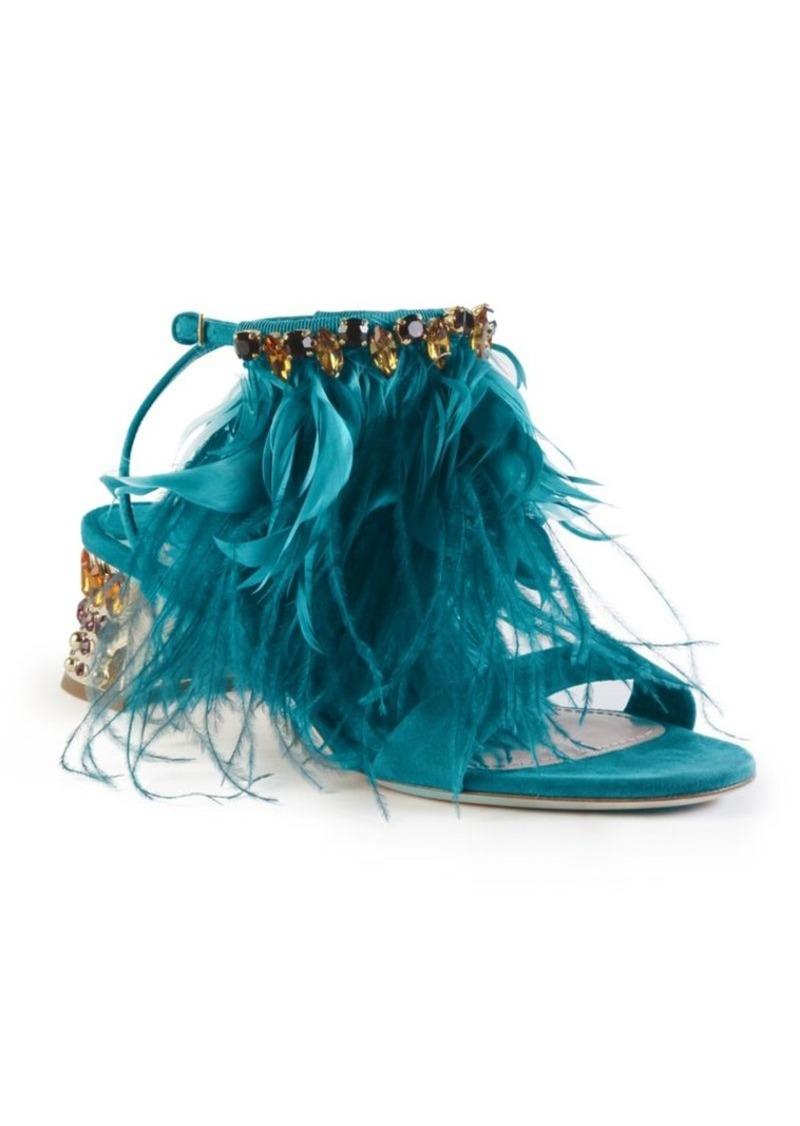 89d4c518f Miu Miu Miu Miu Jeweled Metallic Heel Suede   Feather Sandals