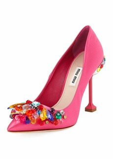 Miu Miu Jeweled Satin High 105mm Pump