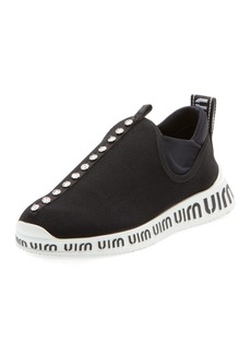 Miu Miu Jeweled Slip-On Trainer Sneakers
