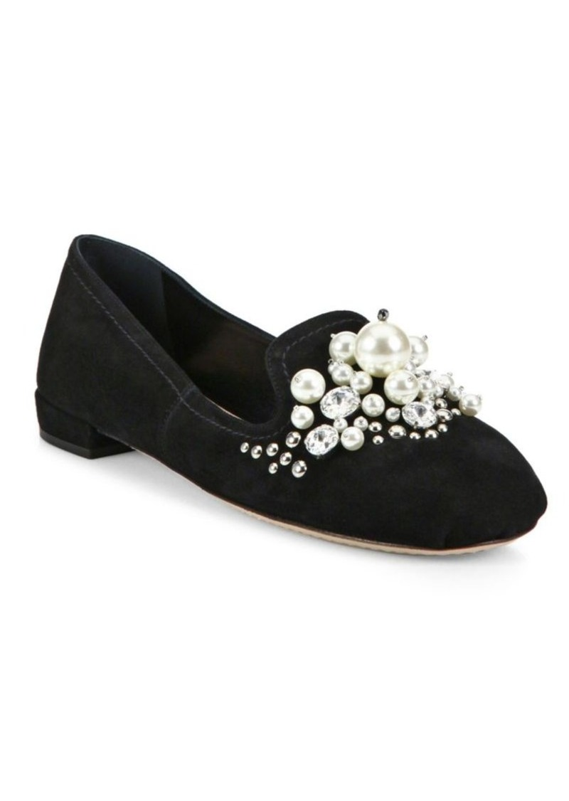 miu miu miu miu jeweled suede loafers shoes shop it to me. Black Bedroom Furniture Sets. Home Design Ideas