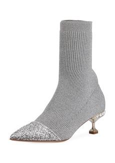 Miu Miu Knit Glitter Cap-Toe Bootie