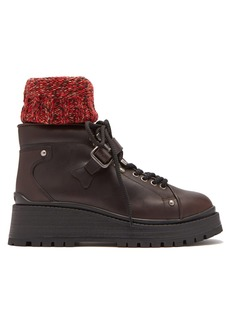 Miu Miu Knitted sock-style lace-up leather ankle boots