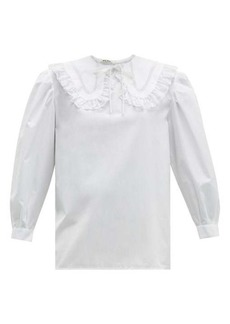 Miu Miu Lace-trimmed collar cotton blouse