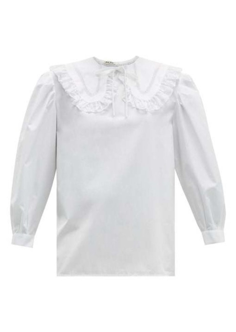 Miu Miu Lace-trimmed collar cotton blouse