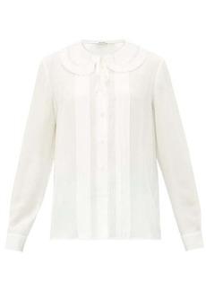 Miu Miu Lace-trimmed collar silk blouse