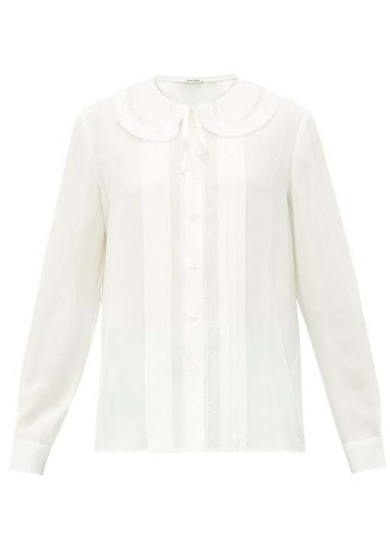 Miu Miu Lace-trimmed collar silk blouse