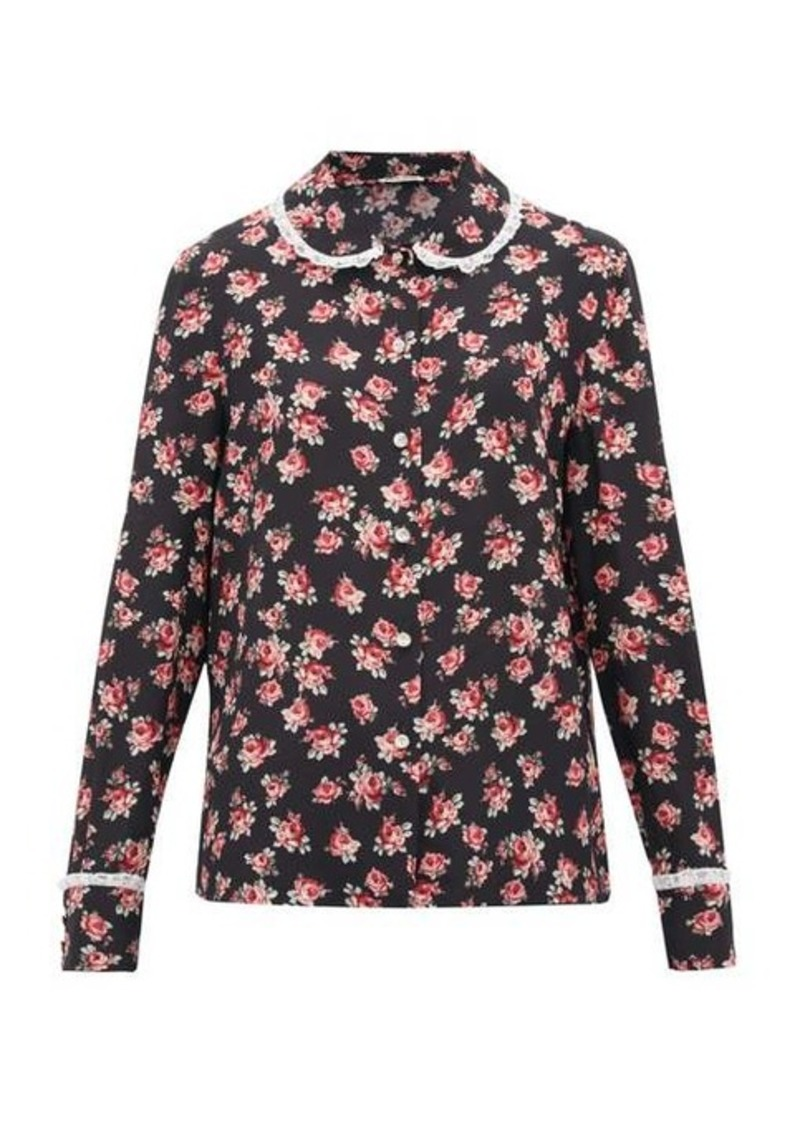 Miu Miu Lace-trimmed rose-print silk blouse