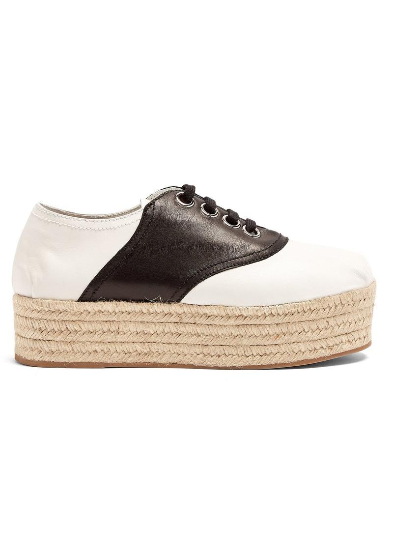 Miu Miu Lace-up espadrille-flatform leather shoes