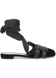 Miu Miu Lace-up grosgrain-trimmed velvet ballet slippers