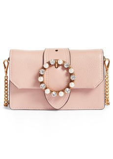 Miu Miu Lady Madras Crystal Embellished Leather Crossbody Bag