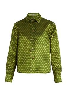Miu Miu Leaf-jacquard blouse
