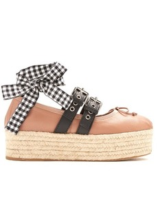 Miu Miu Leather espadrille flatform ballet pumps