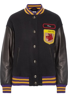 Miu Miu Leather-paneled appliquéd wool-felt bomber jacket