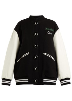 Miu Miu Leather-sleeve wool baseball jacket