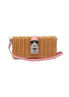 Miu Miu Leather-trimmed wicker bag