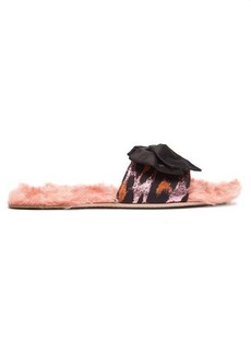 Miu Miu Leopard-jacquard and shearling slides