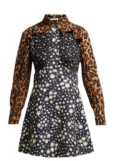 Miu Miu Leopard-print contrast-panel silk dress