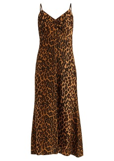 Miu Miu Leopard-print low-back silk midi dress