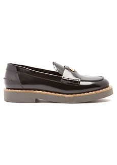 Miu Miu Logo-embossed disc-embellished leather loafers