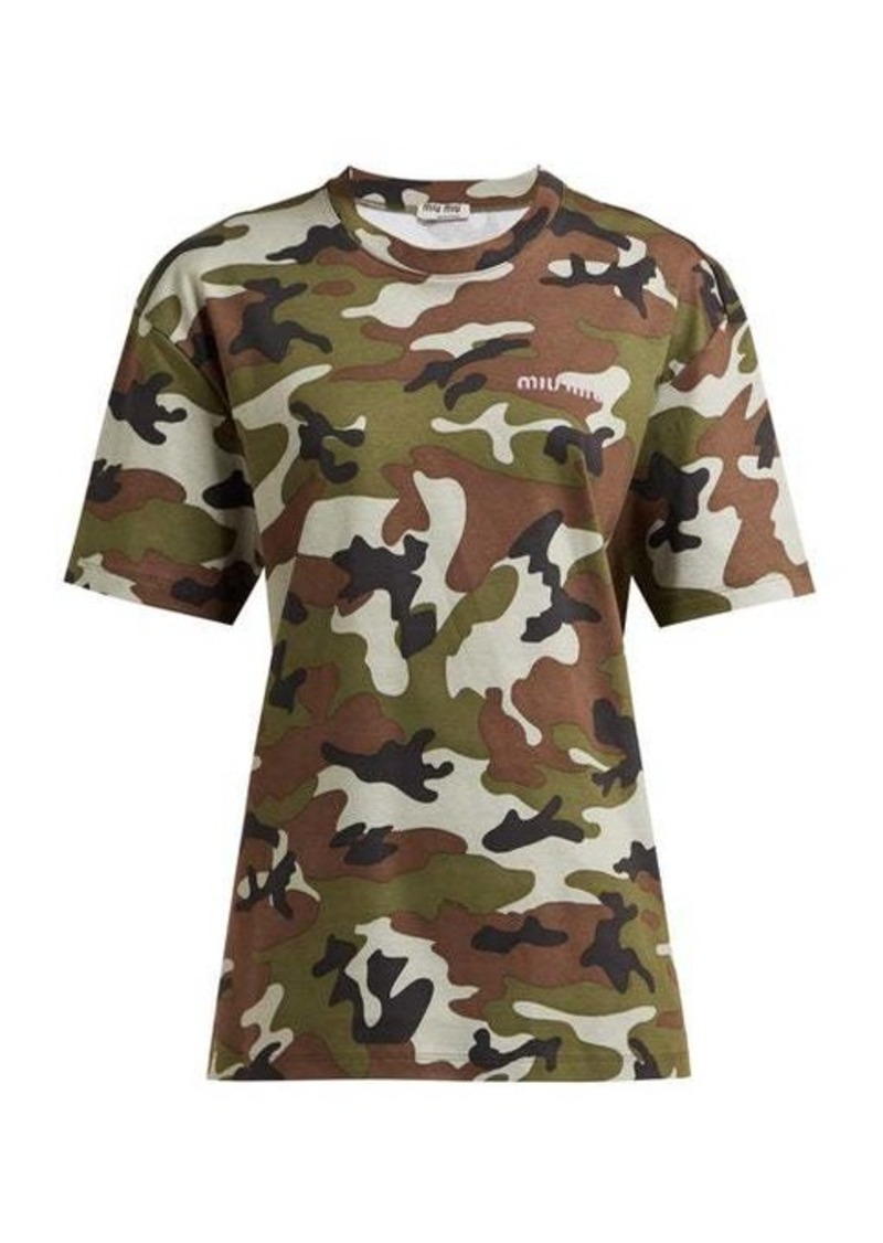 Miu Miu Logo-embroidered camouflage-print cotton T-shirt