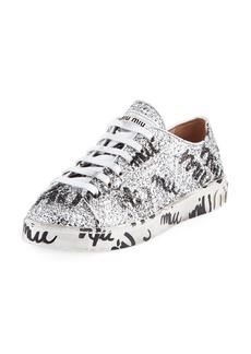 Miu Miu Logo Glitter Platform Sneakers