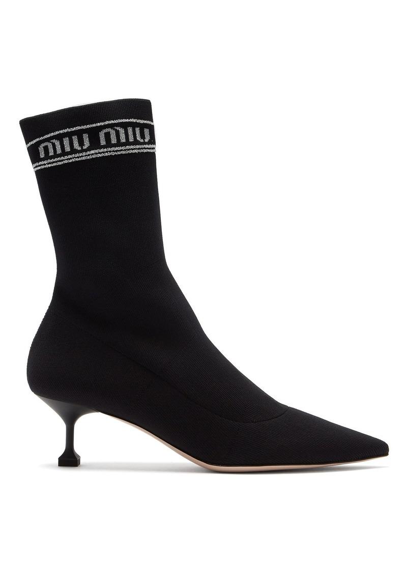 29fd447390e9 SALE! Miu Miu Miu Miu Logo intarsia-knit sock ankle boots