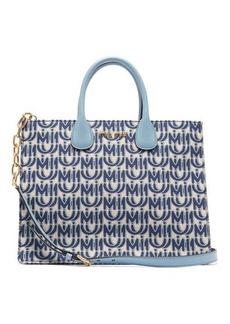 Miu Miu Logo-jacquard leather-handle tote bag
