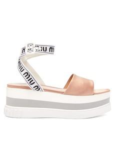 Miu Miu Logo-jacquard satin flatform sandals