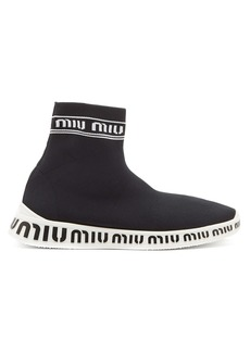 Miu Miu Logo-knit high-top trainers
