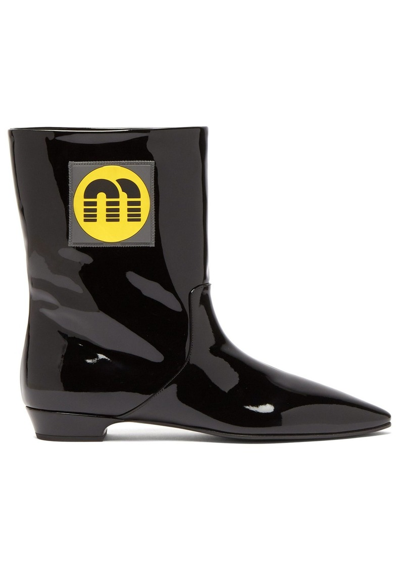 Miu Miu Logo-patch patent-leather ankle boots