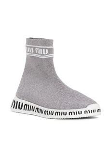 Miu Miu Logo Sock Slip-On Sneaker (Women)