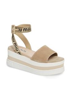 Miu Miu Logo Strap Platform Sandal (Women)