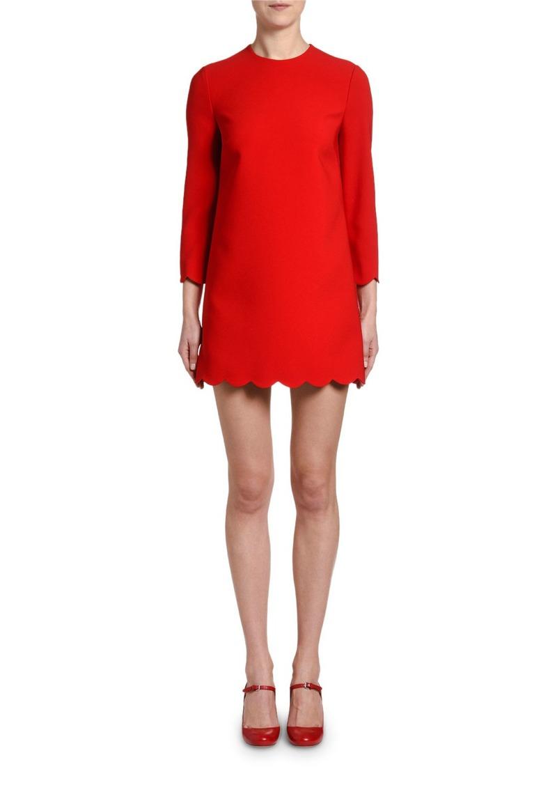 Miu Miu Long-Sleeve Scalloped Shift Dress