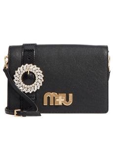 Miu Miu Madras Crystal Embellished Leather & Genuine Snakeskin Clutch