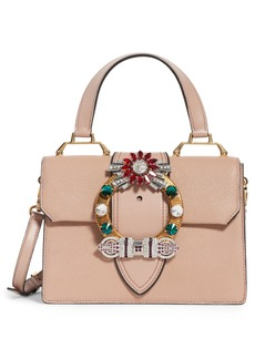 Miu Miu Madras Crystal Embellished Leather Top Handle Bag