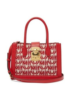 Miu Miu Madras small logo-jacquard leather-trim bag