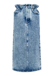Miu Miu Marbled Denim Midi Skirt