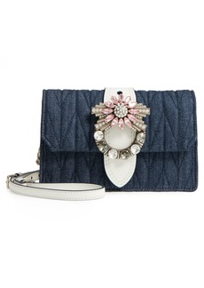 Miu Miu Matelassé Denim Embellished Shoulder Bag