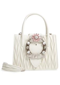 Miu Miu Matelassé Jeweled Lambskin Leather Top Handle Satchel