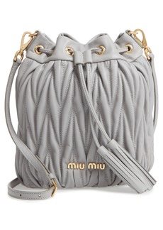 Miu Miu Matelassé Lambskin Leather Bucket Bag