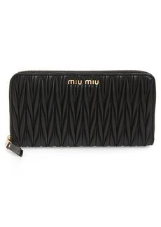 Miu Miu Matelassé Lambskin Leather Zip Around Wallet