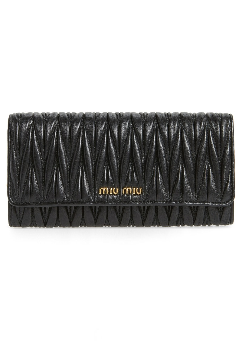 Miu Miu Matelassé Leather Continental Wallet