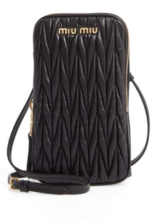 Miu Miu Matelassé Leather Phone Crossbody Bag