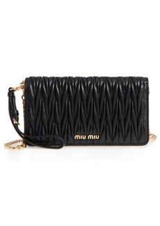Miu Miu Matelassé Leather Wallet on a Chain