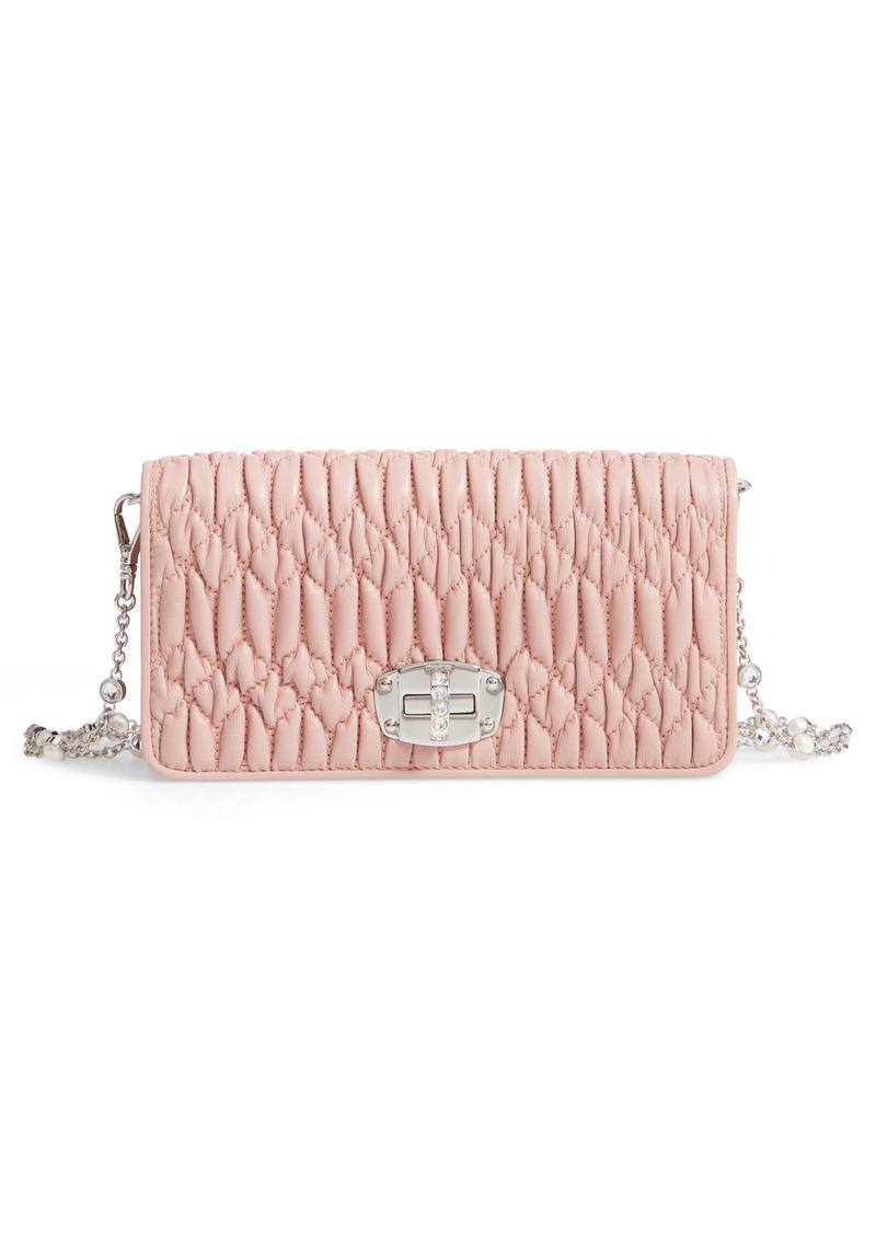 dd0d596043ad Miu Miu Miu Miu Matelassé Leather Wallet on a Chain