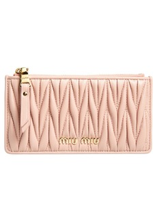 Miu Miu Matelassé Leather Zip Card Case