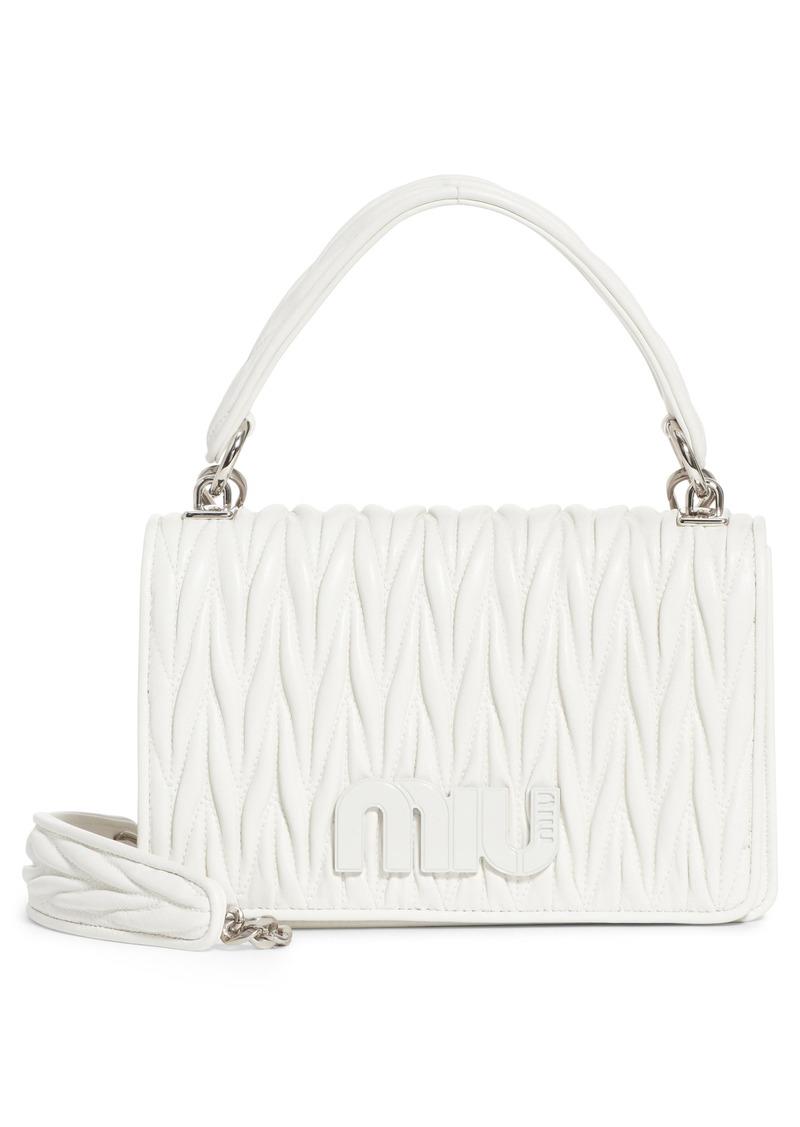 21816fb7c52b Miu Miu Miu Miu Matelassé Quilted Lambskin Leather Top Handle Bag ...